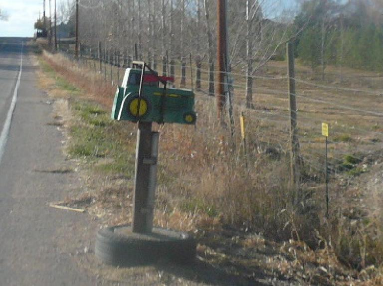 A John Deere tractor mailbox in north Fort Collins.