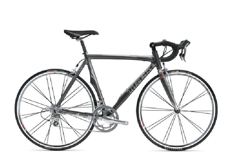 Also heavily promoted was Trek's new line of Madone road bikes.  This one -- the Madone 5.2 -- uses Trek's proprietary OCLV 110 carbon fiber.  (Photo from trekbikes.com)