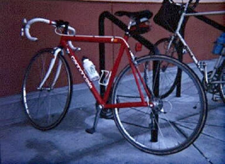 In addition to shuttling me from class-to-class, she was my training bike, race bike, and commuter.  Here she is in Spring 1996 on a run to Walmart (a store I have long stopped patronizing!) (March 1, 1996)