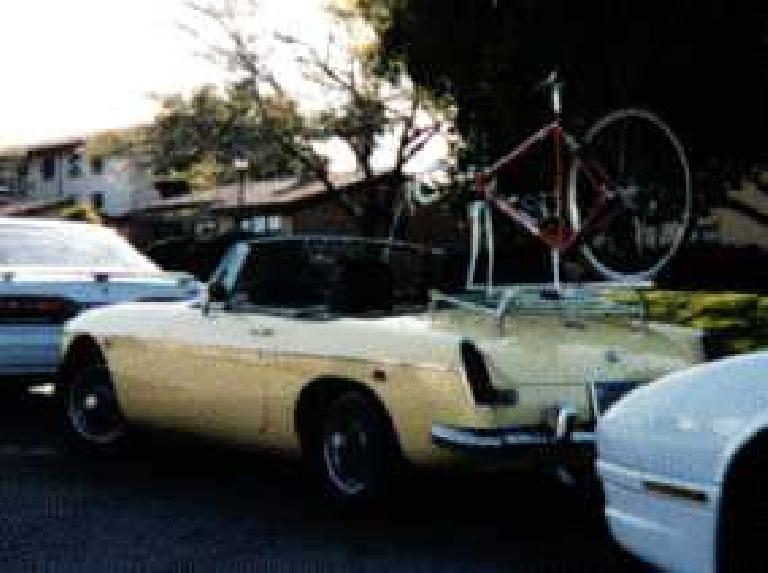 During the winter quarter of my junior year in college as my ME103 final project, I made a bike rack for my little MG so we could all go together to my cycling adventures. (March 1, 1996)