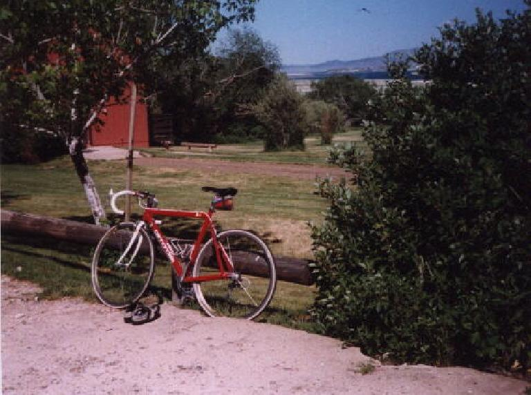 """In 1997, she got her first major componentry upgrades: """"aero"""" 24-spoke Mavic CXP-30 wheels and 24-speed Shimano STI components.  Despite their heavy weight we're still using the same wheelset today. (July 1, 1997)"""