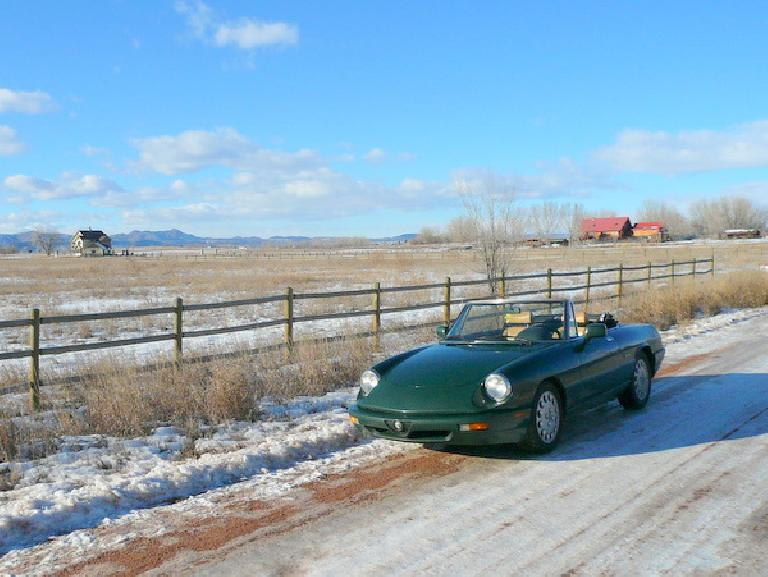 Though she never was very happy in snow, Elaina still had her top down most days in winter thanks to the usually sunny weather in Colorado. (December 23, 2007)