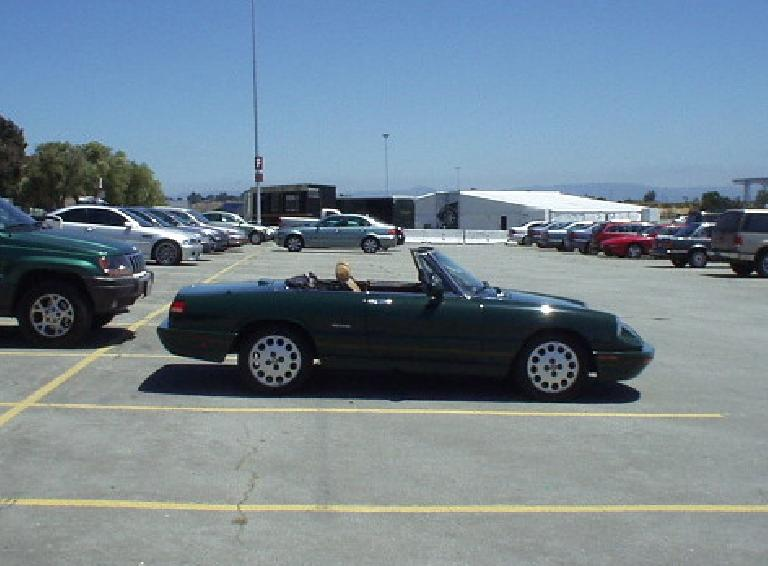 "Elaina at the BMW Ultimate Drive. Conclusion: ""Ultimately I was all very happy to return to my '91 Alfa Romeo Spider, which despite having styling dating back to the 1968 Duetto, looks much better than the Z4."" (July 8, 2005)"