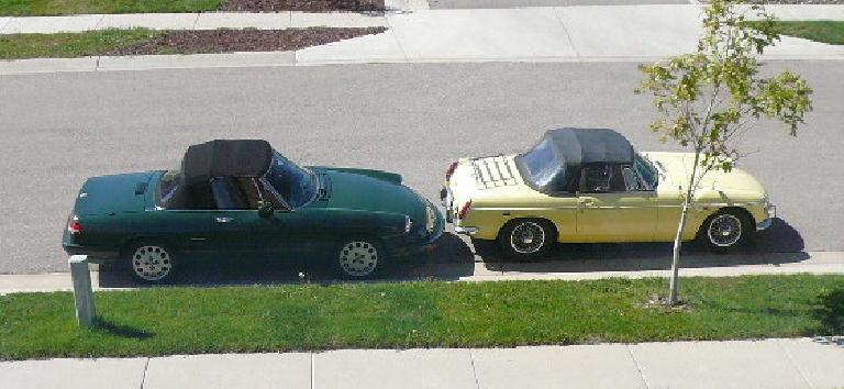 Outside with Goldie, about a month before saying goodbye to the MG.