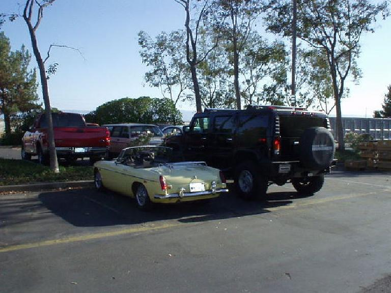 [August 7, 2003] Goldie at Lam, where I worked at from until 2005.  Yes, quite a contrast with a hulking Hummer H2. (August 7, 2003)