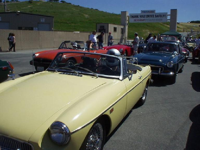 [March 20, 2004] Goldie took Sharon and I around the famous Laguna Seca racetrack in Monterey amongst her MG brethren. (March 20, 2004)