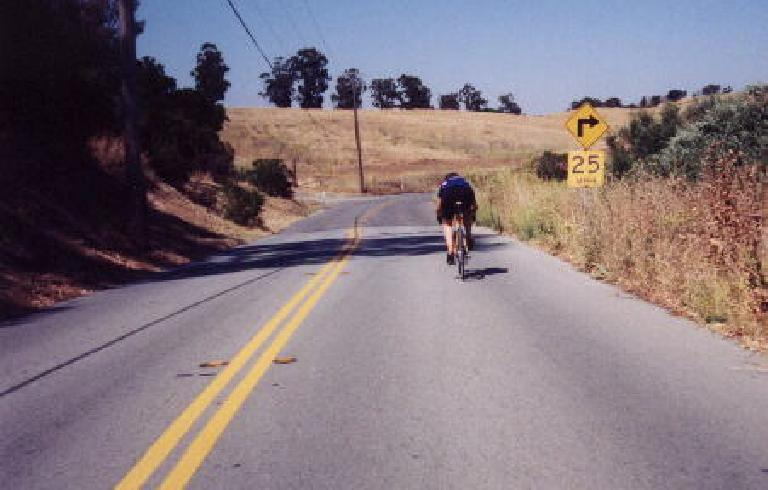 This is the hot-shot who I was playing cat-and-mouse with in Portola Valley and (shown here) Arastradero Rd.