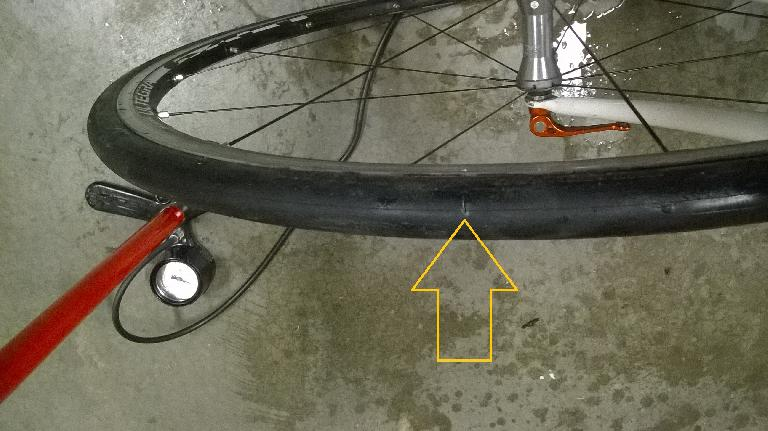 The puncture in the tire was a cut nearly a quarter-inch long. No wonder the sealant couldn't sufficiently seal it.