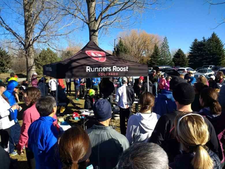 Runners Roost, among others, was a big sponsor of the 2017 Turkey/Donut Predict 5k at Rolland Moore Park.  Many sponsor prizes were raffled off after the end of the race.