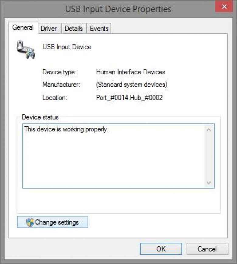 USB Input Device Properties