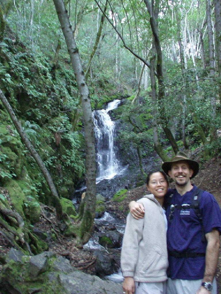 A cute shot of Mr. & Mrs. Adrian & Evelyn in front of the Black Rock Waterfalls.