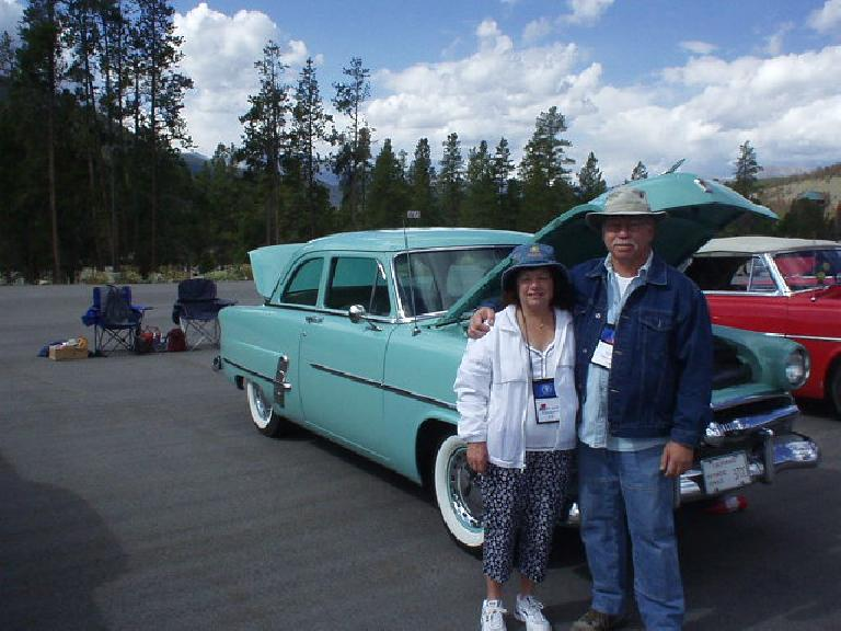 Mary Jane and Robert with their 1953 Ford coupe which they had driven 1200 miles from Southern California with a whole group over 5 days.