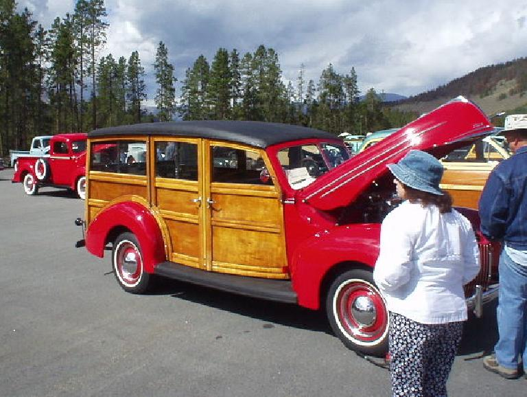 Checking out a woodie, which was like a minivan in its day -- it could seat 9!
