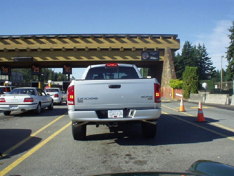 Waiting to get past the U.S./Canada border crossing along I-5.
