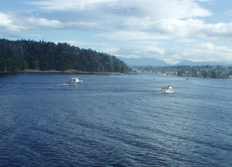 The view of Discovery Bay from the ferry.