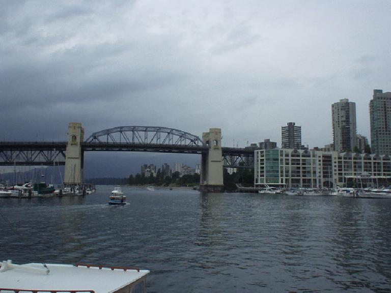 A bridge going to downtown, as viewed from Granville Island.