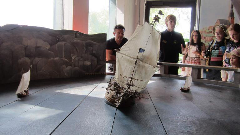 A model of the ship showing how it may have keeled over before capsizing.
