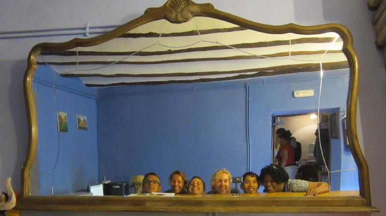 Portrait of our group in a mirror: Antonio, Barbara, Jordi, Anne, Felix, and Jo. (August 26, 2013)