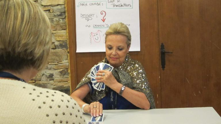 Carmen, director of VaughanTown in Valdelavilla, demonstrating an impressive magic trick. (August 26, 2013)