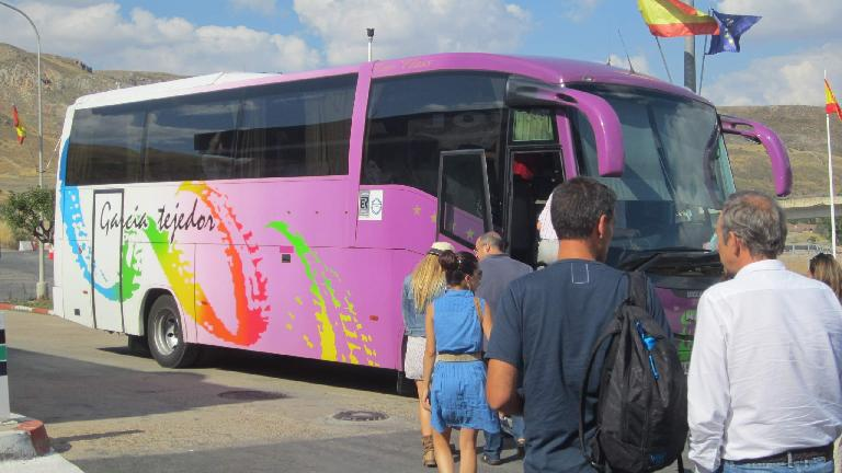 The shuttle bus was just small enough to make the tight turns near Valdelavilla.  Here it is at a coffee break midway between Valdelavilla and Madrid. (August 30, 2013)