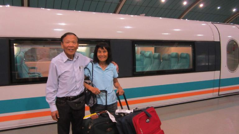 The first thing my dad and mom and I did upon arriving in Shanghai was taking the 300+ kilometer/hour MagLev train, the fastest in the world. (May 16, 2014)