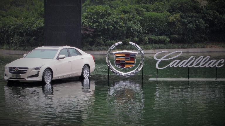 A Cadillac CTS on the water near Nanjing Road in Shanghai. (May 17, 2014)