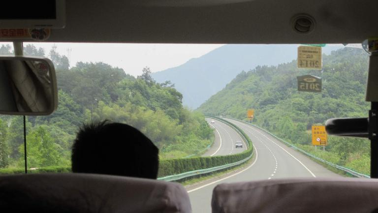 This was the expressway from the Huangshan Mountains. All highways in eastern China seemed super well maintained and landscaped. (May 21, 2014)
