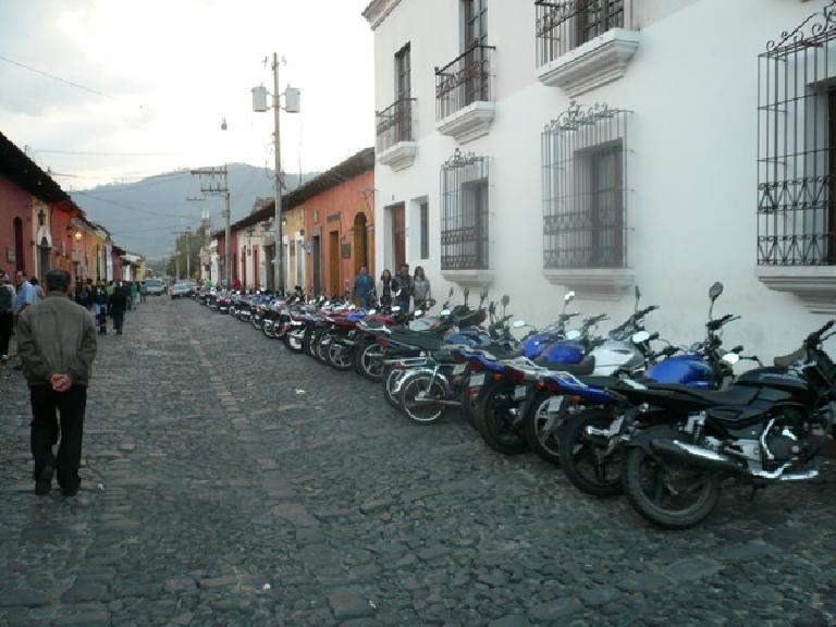 Motorcycles in Antigua, Guatemala. (December 25, 2010)