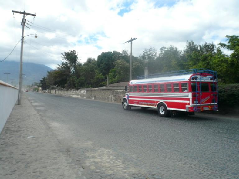 One of the many colorful chicken buses in Guatemala, which are recycled U.S. school buses from the 1970s, 80s and 90s. (December 26, 2010)