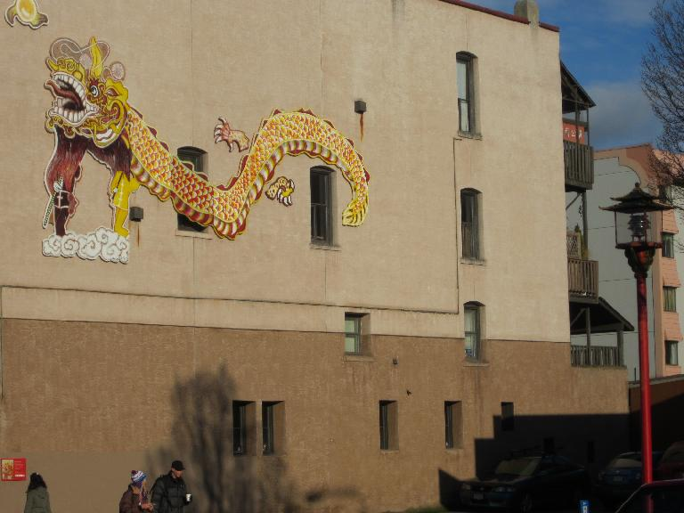 Dragon artwork in Chinatown.