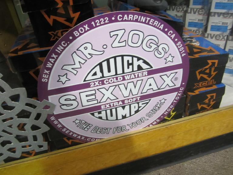 Sexwax (I think for surfboards?) was sold at the Sports Rent store in Victoria I rented the bicycle at for $12 for two hours.