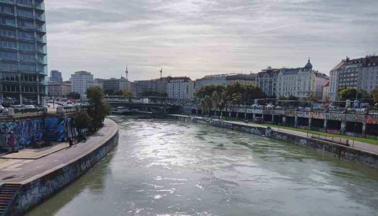 The Wien River in central Vienna.
