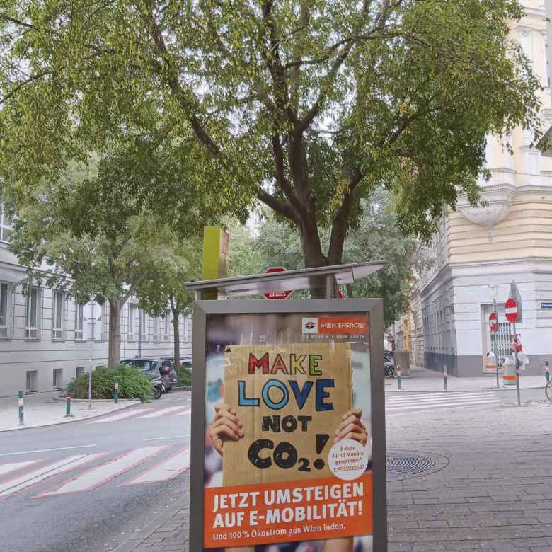 Billboards in Vienna advocated making love instead of CO2.