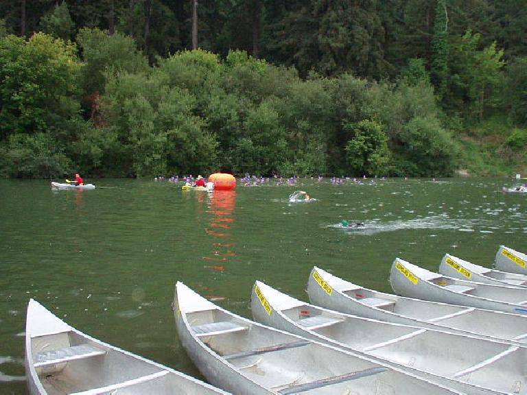 [Swim Mile 0] This is it... time to sink or swim!  Well, sort of... most sections of the Russian River were so shallow that in some places my hand would brush the bottom as I stroked along slowly, slowly... Photo: Sharon Schneckenberger.