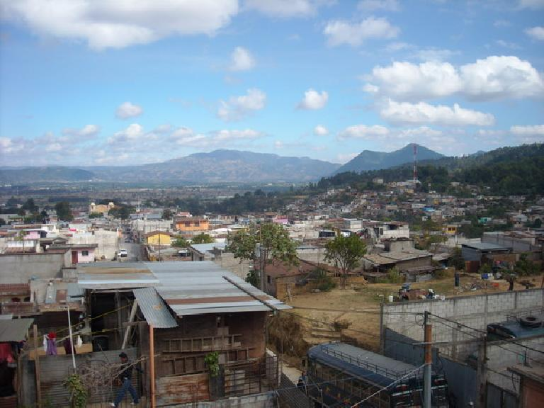 The nice view of Guatemala from the rooftop of Maya Pedal. (December 26, 2010)
