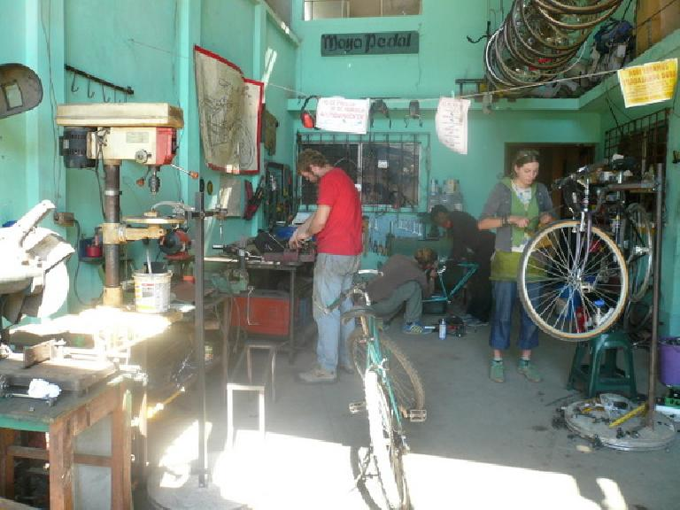 The busy shop at Maya Pedal. (January 6, 2011)