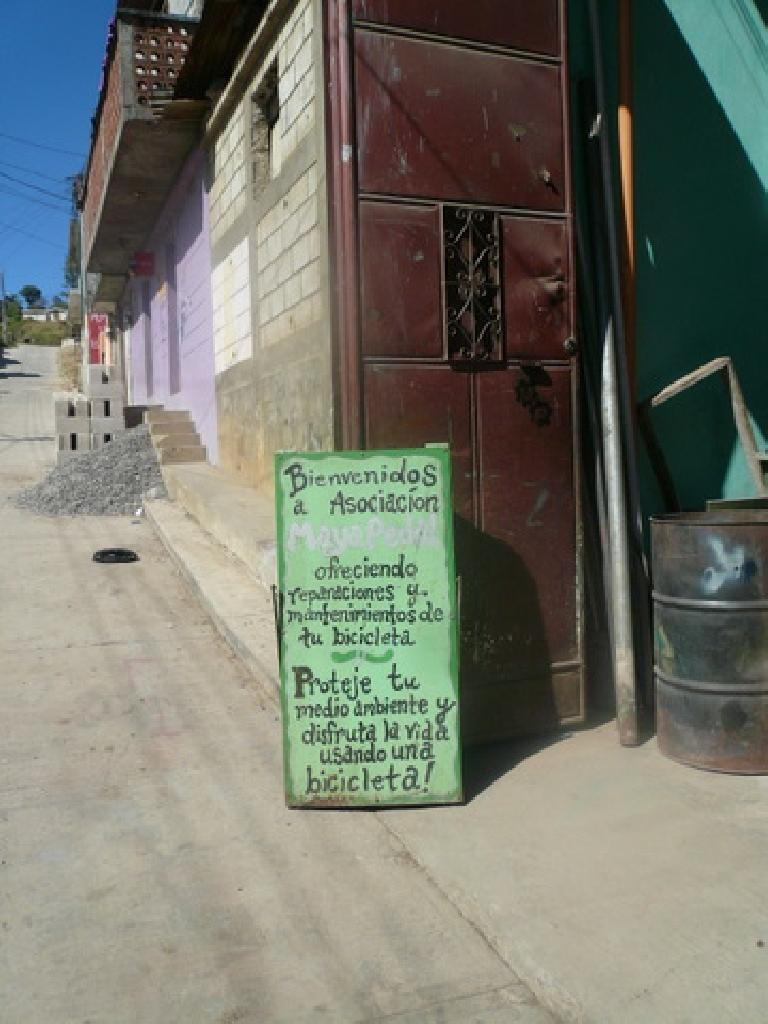 Sign outside Maya Pedal. (January 6, 2011)