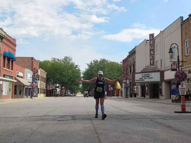 Mel Sirois in the final 100 meter stretch of the 2019 Wabash Trace Trail Marathon in Shenandoah, Iowa.