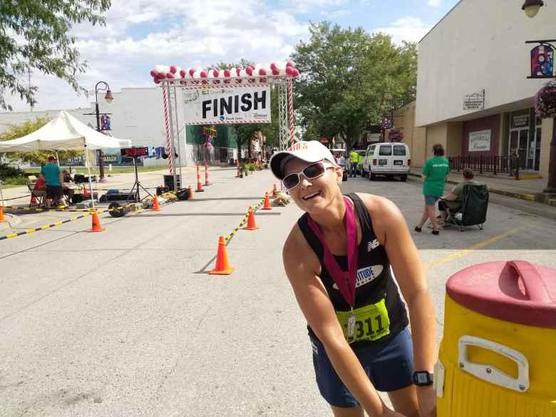 Mel after finishing the 2019 Wabash Trace Trail Marathon.