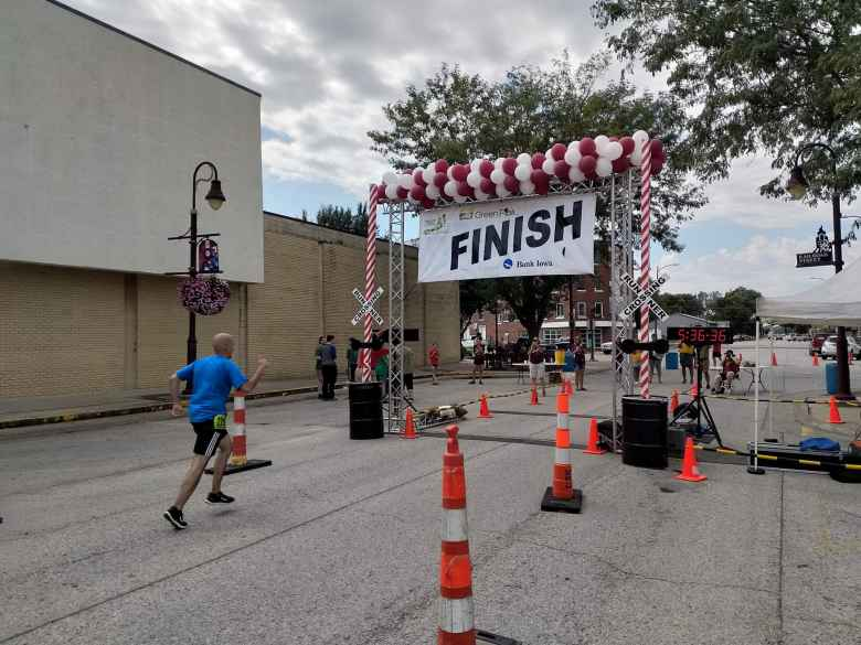 Manuel Gant finishing the 2019 Wabash Trace Trail Marathon, his very first marathon.