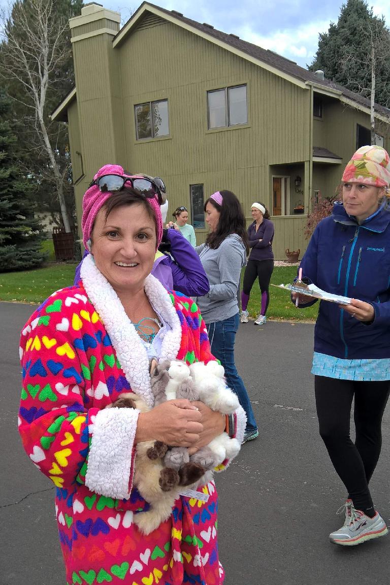 Runner in crazy cat woman costume.