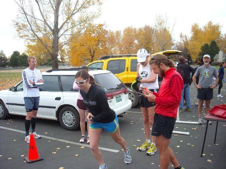 Ellen starting her run.