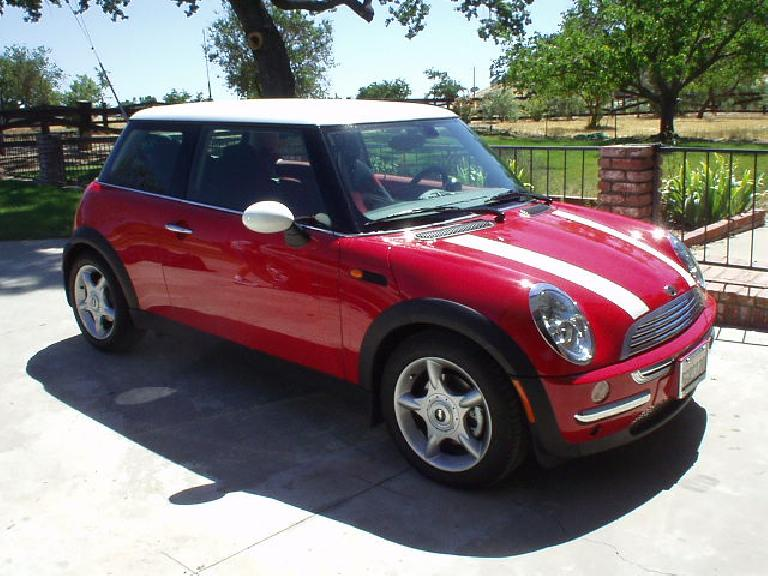 The red Mini Cooper itself with white racing stripes.  Thanks to Sharon's family for the great weekend!
