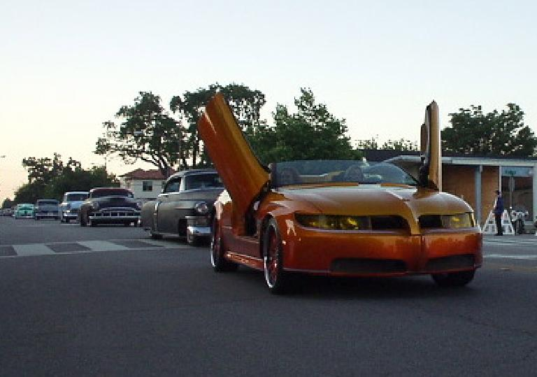 Though 95% of the cars were customized cars from the 50s, there was this custom 2005 Pontiac GTO with flip-up doors.