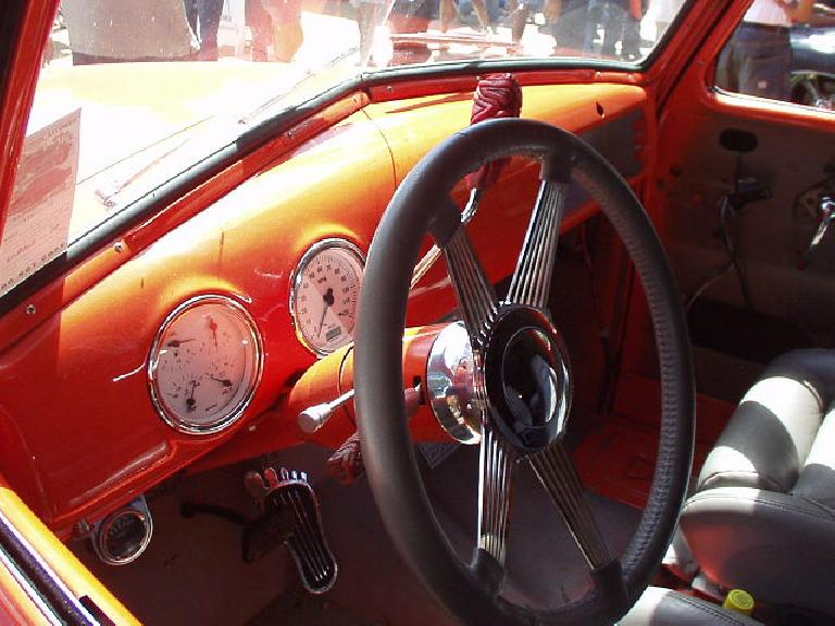 Check out the stalk levers and the accelerator pedal in this photo.
