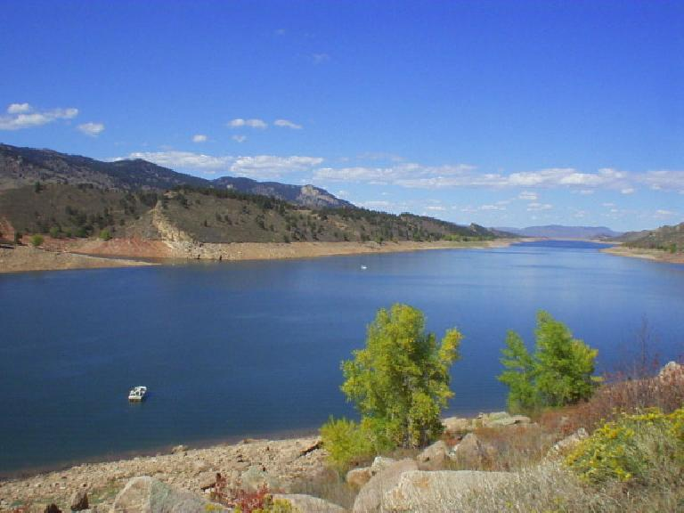 [Mile 110, 1:20pm] You can see the expanse of the Horsetooth Reservoir, the largest body of water in CO.  Amazingly, each August 100 people swim its entire 6.1-mile length!