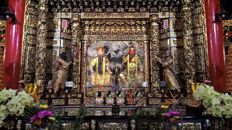 Tribute to what may be depictions of gods at the Wen Wu Temple in Yuchi Township, Taiwan.