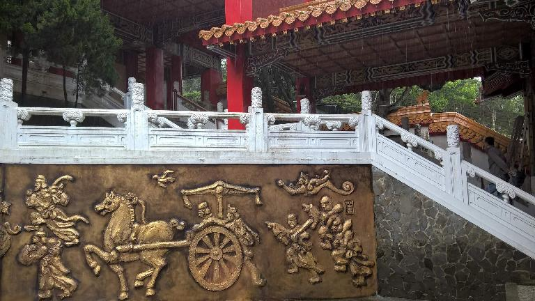 Gold wall carvings at the Wen Wu Temple in Yuchi Township, Taiwan.
