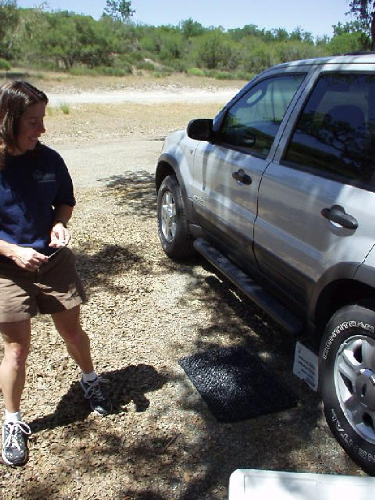 """This """"stuff"""" even included... a doormat!!! """"So that I don't track mud into the car, like last year,"""" Sharon explained.  LOL, it's hard not to love this gal..."""