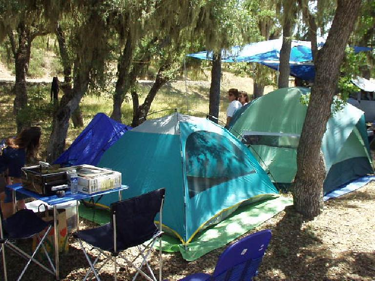 Phil, Danita, Lawrence, Laura, JC and Phil were already there and their campsites set up.  I stayed in my blue Sierra Designs Clip Flashlight tent in the back.